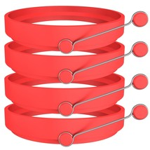 Ozera 4 Pack Nonstick Silicone Egg Ring Pancake Mold, Round Egg Rings Mo... - $13.75 CAD
