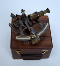 """Antique brass 5"""" nautical sextant astrolabe instrument with wooden box g... - $118.79"""