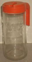 Vtg TANG Anchor Hocking Clear Glass 1 Quart Serving Pitcher Orange Plast... - $18.81