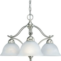 Progress Lighting Avalon 3-Light Brushed Nickel Chandelier Alabaster Gla... - $169.99