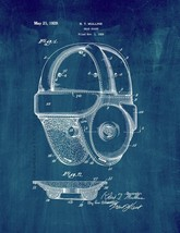 Football Head Guard Helmet Patent Print - Midnight Blue - $7.95+