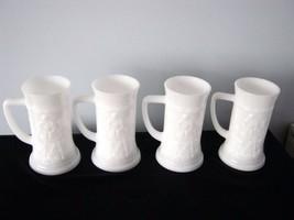 4 Vintage Federal Milk Glass Beer Stein/Tankard/Mug 1950s Tavern Scene - $9.89