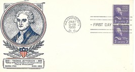 First Day Cover - Scott#851 3c Thomas Jefferson WSE/Clifford Cachet - $3.47