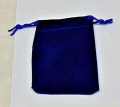 """12 BLUE GIFT Drawstring Bags 2-1/2"""" x 3"""" Flocked Velveteen Pouch for Sma... - $6.60"""