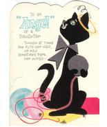 Vintage Birthday Card Flocked Black Cat Hallmark Die Cut Daughter - $8.90