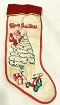 Vintage 50s Felt Christmas Stenciled Stocking Santa Tree Presents Glitte... - $29.69