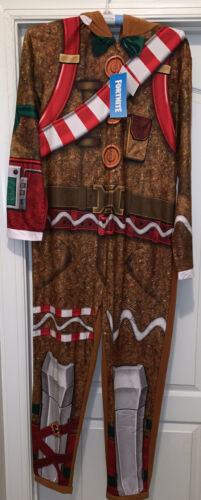 Primary image for Fortnite Merry Marauder Gingerbread Man Pajamas Costume 1pc Suite Role Play NWT