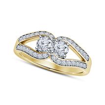 14k Gold Plated 925 Silver Brilliant Round White Diamond Women's Engagem... - $68.99