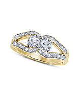 14k Gold Plated 925 Silver Brilliant Round White Diamond Women's Engagem... - $68.99