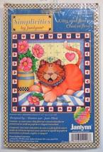 Janlynn Kitty & Flowers Joan Elliott 6 x 6 Cross Stitch Kit 2001 Kitten Cat  - $8.99