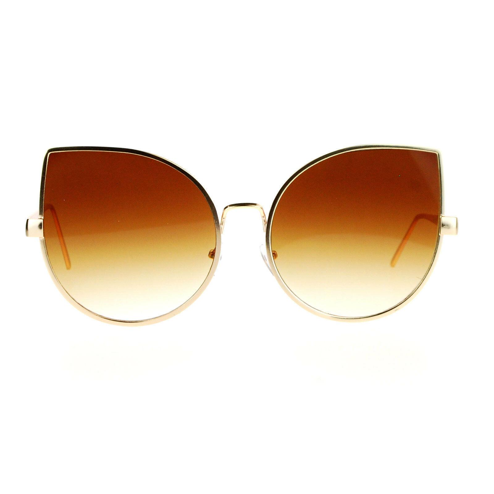 Super Oversized Sunglasses Foxy Round Cateye Flat Lens Womens Fashion Shades