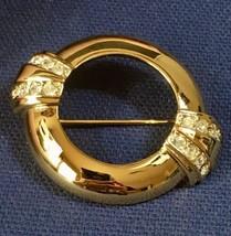 Vintage Avon Centennial 1886-1986 Goldtone & Rhinestone Scarf Brooch/Pin... - $9.46