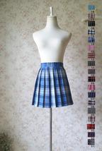 BLUE PLAID Skirt Women Girl Pleated Plaid Skirt School Style Pleated Plaid Skirt image 3