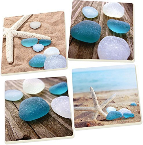 Sea Glass Starfish 4 Piece Square Ceramic Coaster Set