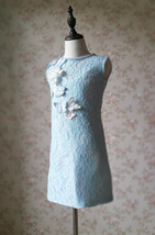 Light Blue Lace Flower Girl Dress Short Pencil Blue Birthday Party Dresses NWT image 2
