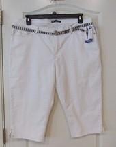 "Lee® Belted Denim 18"" Skimmer Crop Pant White Women's Sz 18 NWT MSRP$48 ... - $25.48"