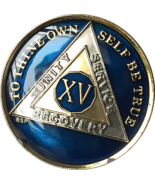 15 Year Midnight Blue AA Medallion Alcoholics Anonymous Chip Gold Tri-Pl... - £10.99 GBP