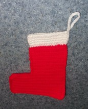 Brand New Hand Crocheted Mini Christmas Stocking For Dog Rescue Charity - $7.39