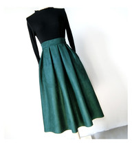 Women Suede Pleated Skirt High Waist Pleated Party Skirt DARK GREEN Suede Skirt image 3