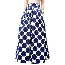 Polka Dot Print Pleated Women High Waist Maxi Skirt - $33.06