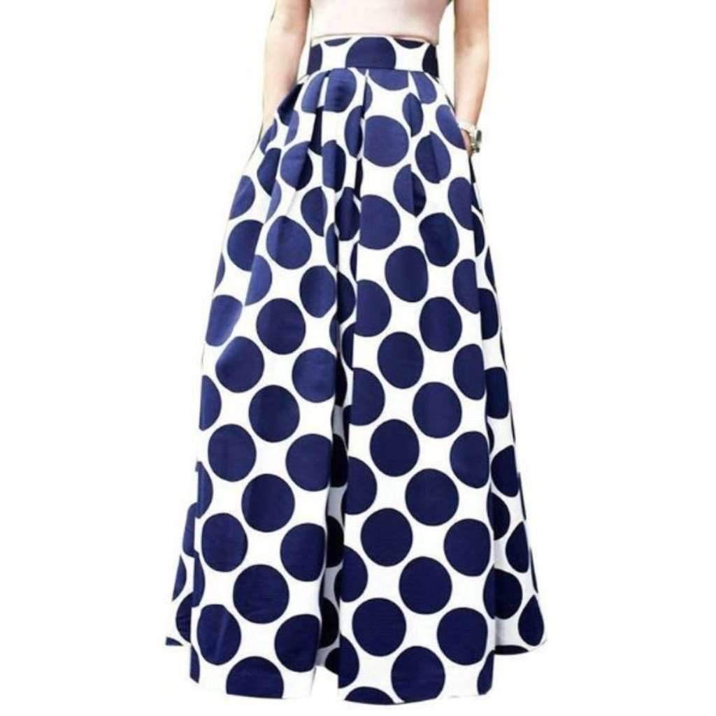 Isy dress for less maxi skirts polka dot print pleated women high waist maxi skirt 1406407802911