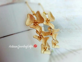 Matte Gold Orchid Earrings Orchid Trio Earrings Gold Orchid Flower Earri... - $48.00
