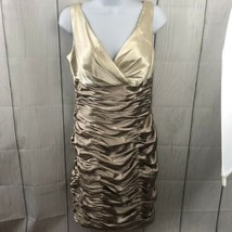 David's Bridal rouched gold/cream cocktail party homecoming dress Size 4 - $49.50
