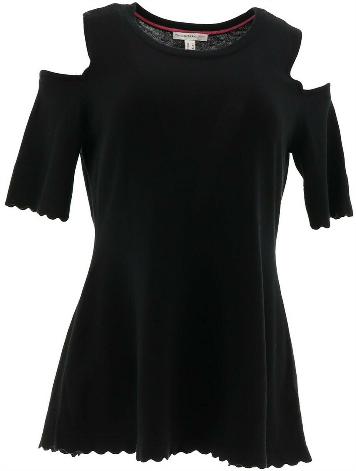 Primary image for Isaac Mizrahi Cold-Shoulder Scallop Peplum Pullover Black XL NEW A306440