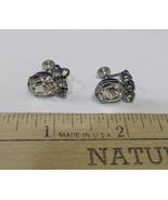 Silver Tone Metal Screw Back Earrings w/ Clear Rhinestones Shimmer Vinta... - $7.91