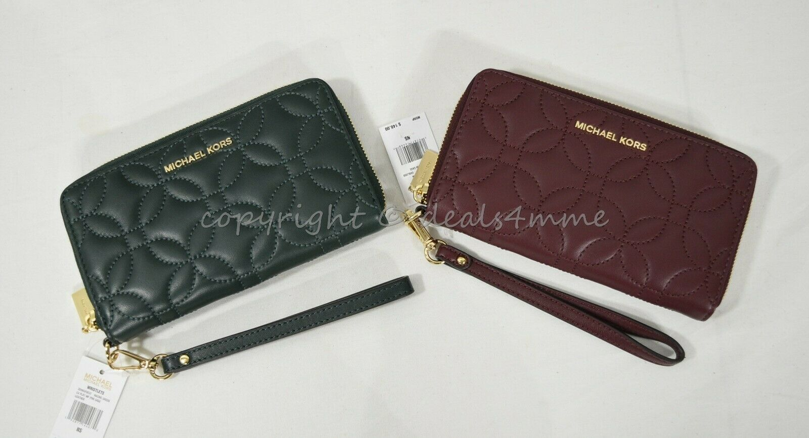 c72f95a63493 57. 57. Previous. NWT MICHAEL Michael Kors 32H8GFDE3T Large Quilted Leather  Smartphone Wristlet