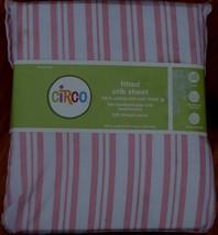 Circo Fitted Crib Sheet - Brand New - Pretty Pink Stripes - 200 Tc - 100% Cotton - $18.80