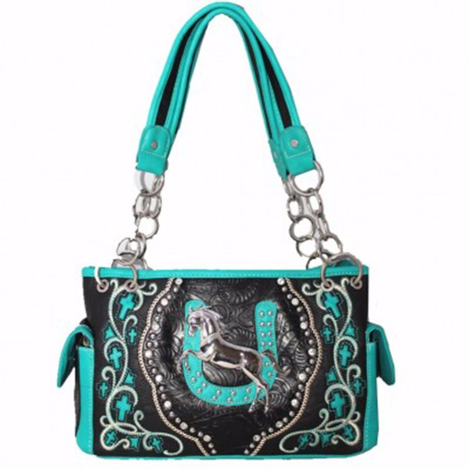 Western Bling Horse Shoe Conceal Carry Gun Pocket Purse Black Turquoise