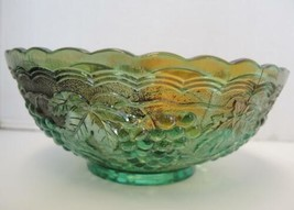 Imperial Carnival Glass Green Bowl - Grape Pattern - $21.27