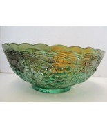 Imperial Carnival Glass Green Bowl - Grape Pattern - $30.39