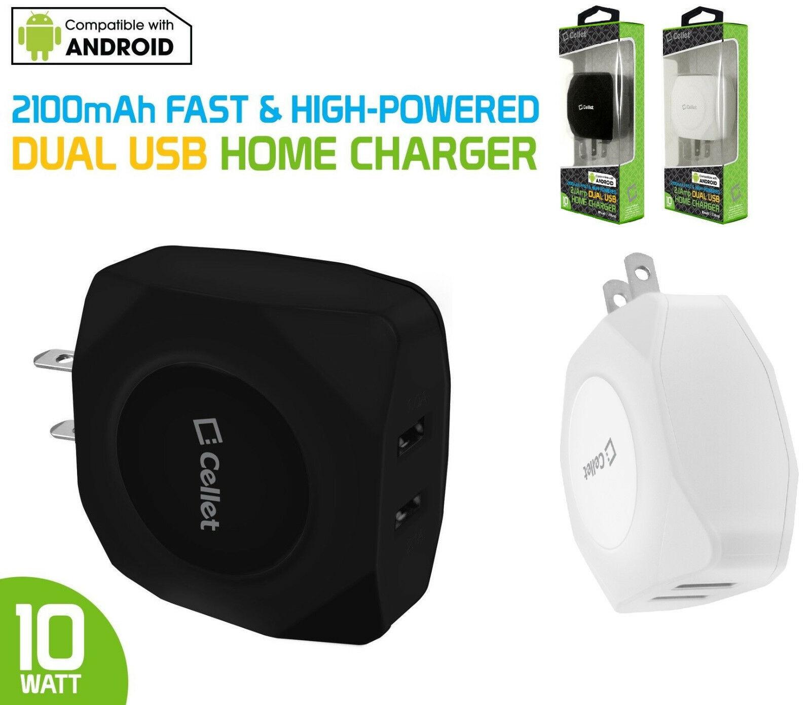 Cellet Universal 10 Watt / 2.1 Amp Dual USB Port Travel Home Wall Charger