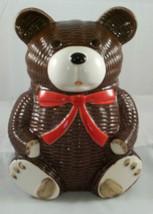 VTG Otagiri Piggy Bank Japan Figural Brown Teddy Bear Hand Painted Red B... - $14.26
