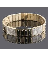 4.25 Ct Men's 4 ID Screw Link Diamond Bracelet 14k Solid Yellow Gold 51 ... - $6,308.22