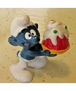 Vintage SMURFS Smurf holding cake mini PVC Figure toy - $5.99