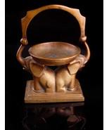 Vintage Chinese Alter - elephant incense burner - bronze handle with mar... - $125.00
