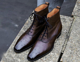 Brogues Toe Vintage Leather High Ankle Formal Dress Maroon Men Lace Up Boots image 2