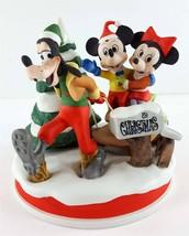 Disney Collezione Natale 1989 Slitta Ride Mickey Minnie Figurina Limitata - $39.66