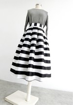 Women White Black Strip Pleated Midi Skirt A-line High Waist Pleated Plaid Skirt image 4