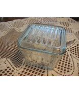 VTG Glass Refrigerator Dish with Lid-Square-Ribbed-Clear- - $10.00