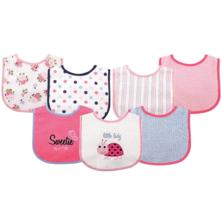 Baby girl bib set pink ladybug 7 pack shower gift adjustable - $12.09