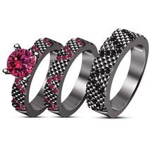 Black Gold Finish 925 Silver Pink Sapphire His & Her Engagement Ring Tri... - $173.88