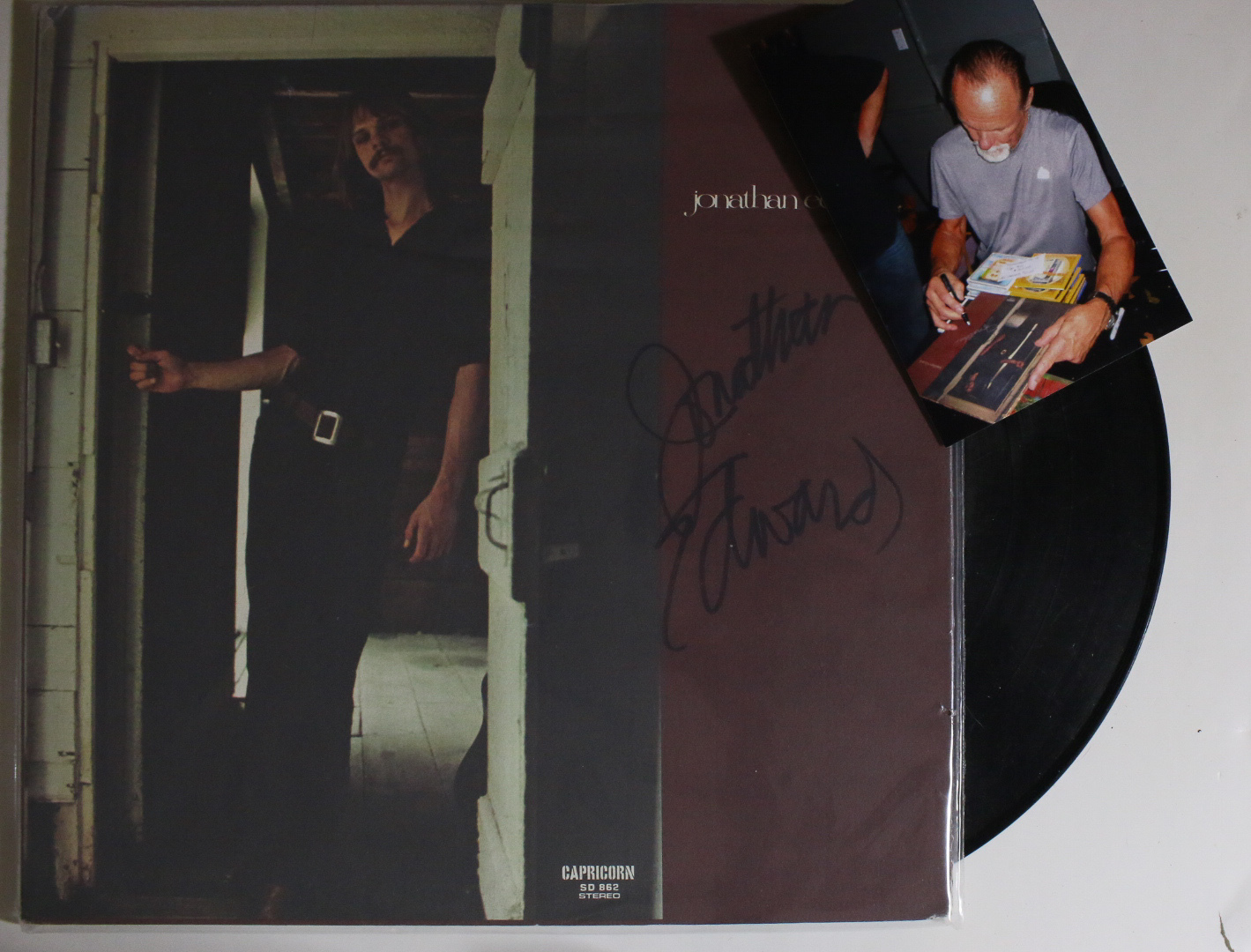 Primary image for Jonathan Edwards Signed Autographed Record Album w/ Proof Photo