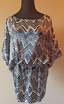 Express Black and White Silky Zigzag Batwing Elastic Waist Long Top size... - $19.95