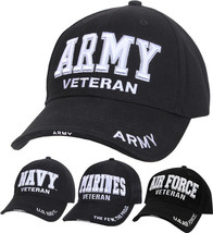 Deluxe US Military Veteran Cap Adjustable Ball Hat - Army Navy Marines A... - $11.99+