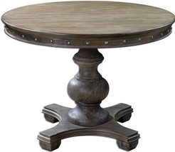 "42"" Round Pine Nailheads Pedestal Dining Foyer Game Accent Table Weather... - €894,76 EUR"