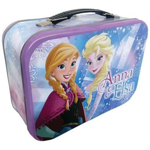 Walt Disney's Frozen Anna and Elsa Large Carry All Tin Tote Lunchbox, NEW UNUSED